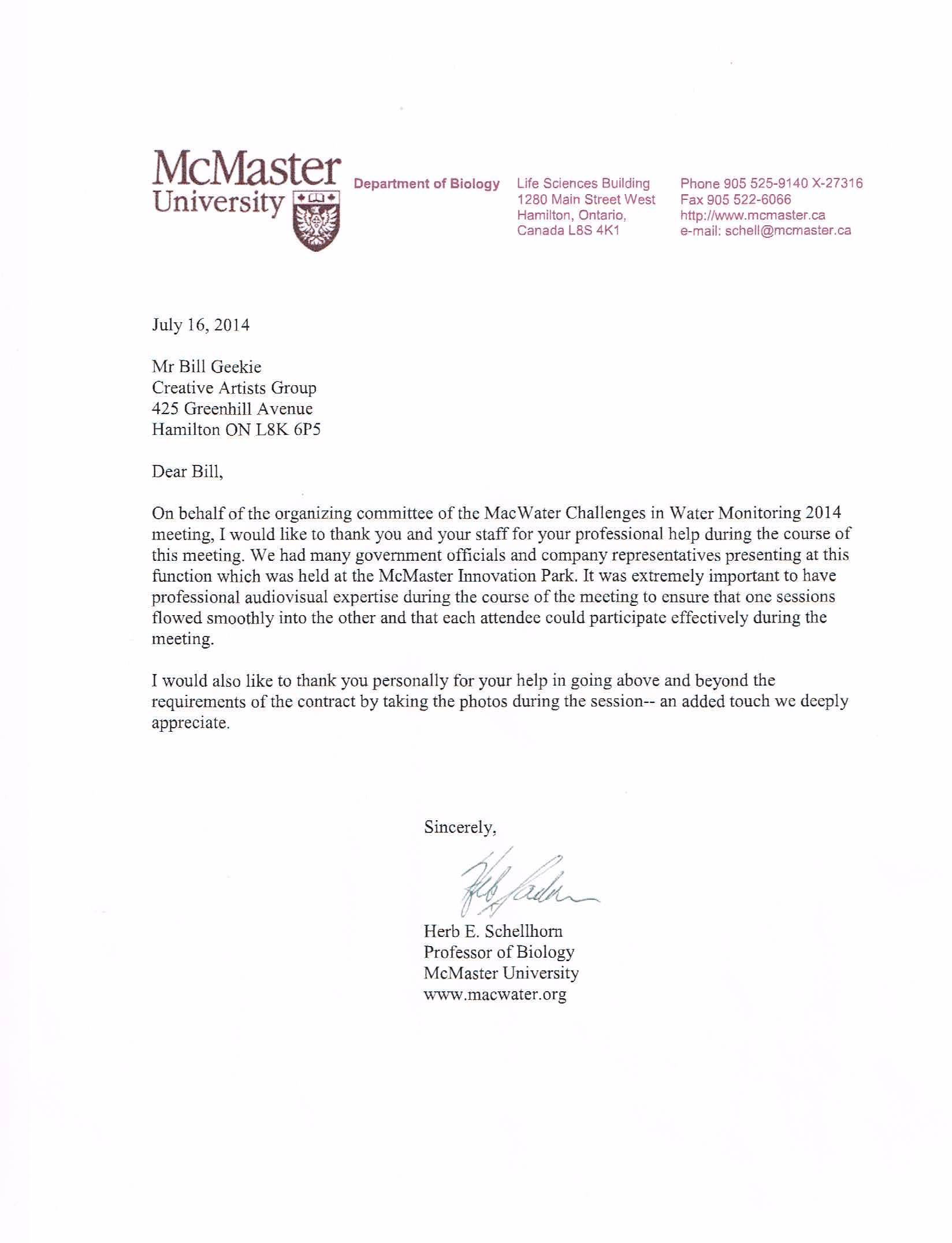 McMaster Department of Biology reference letter